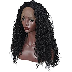 Jerry Curly Lace Front Wigs Synthetic Hair Wigs For Black Women Black Hair Heat Resistance Fiber 26inch