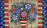 Toland Home Garden Patriotic Flowers 18 x 30 Inch Decorative Floral Floor Mat Colorful USA Doormat