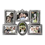Adeco 6 Openings Decorative Anitque Silver Collage Photo Frame - Made to Display Six 4x6 Photos