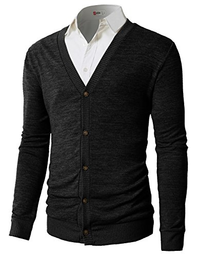 H2H Mens Slim Fit Ribbed Knit Cardigan With Pockets BLACK US M/Asia L (CMOCAL019)