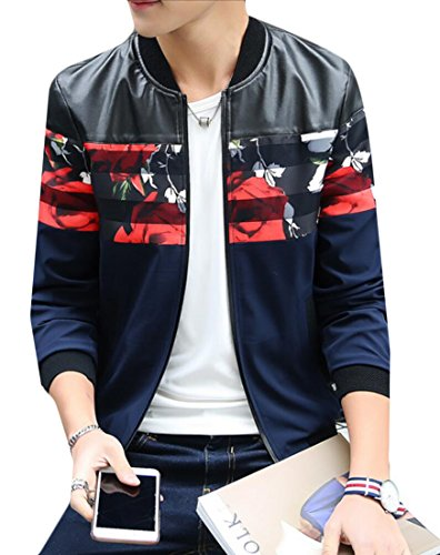 Jacket Fit Blue Size PU Contrast Baseball Mens Generic Autumn M Print Slim Plus Dark nxwavCT8Bq