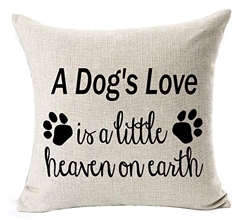 Andreannie Best Dog Lover Gifts Nordic Warm Sweet Funny Sayings A Dog's Love is A Little Heaven On Earth Cotton Linen Throw Pillow Case Cushion Cover New Home Decorative Square 18X18 Inches (Best Pillow On Earth)