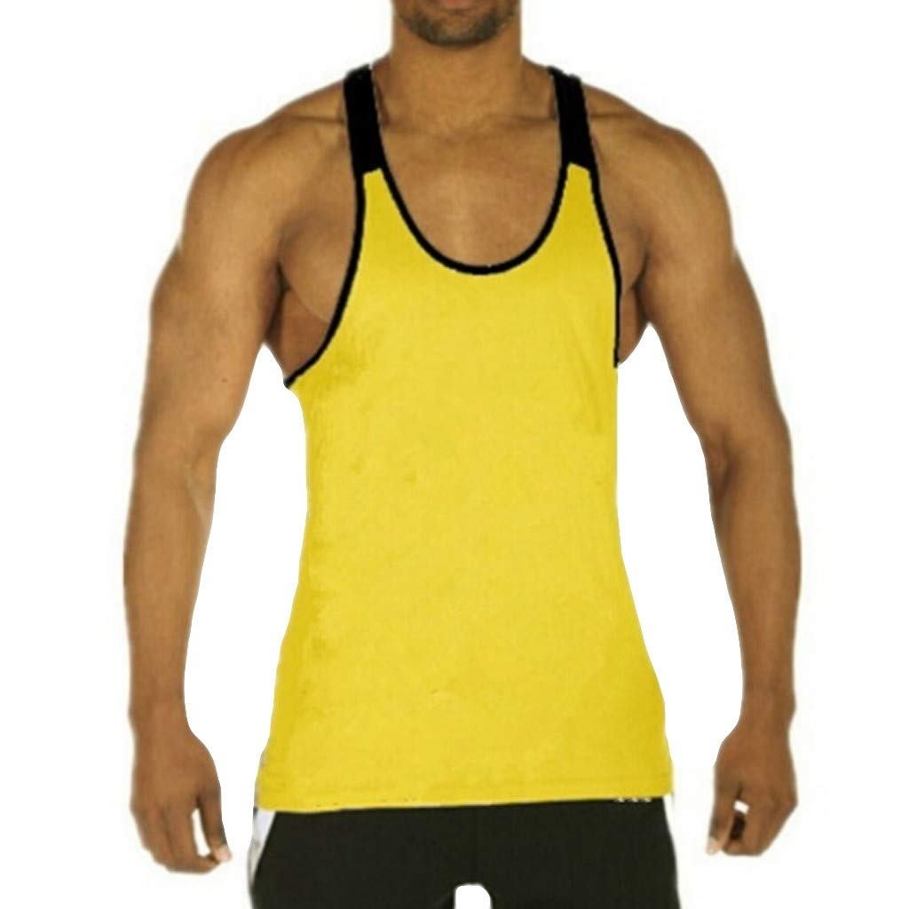 miqiqism Muscle Shirt Men Colorblock Hipster Tank Tops Sport Workout Fitness Vest Bodybuilding Gym Athletic Sleeveless T-Shirt (Yellow, XXL)