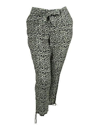 RALPH LAUREN Belted Slim Fit Pants (18W, Black/Pearl) by RALPH LAUREN
