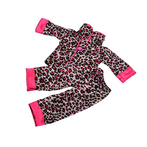 Jili Online Handmade Leopard Printed Pajamas Outfit for 18in. American Girl Journey Doll