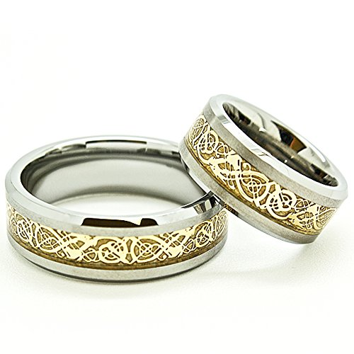 Satin Hers Tungsten (Matching 8mm Golden Colored Celtic Dragon Inlay Satin Finished Tungsten Wedding Rings (Check for sizes))