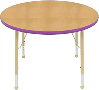 """product image for Creative Colors 36"""" Round Table with Top Color: Maple, Edge Color: Purple, Leg Height: Standard 21""""-30"""", Glide Style: Ball"""