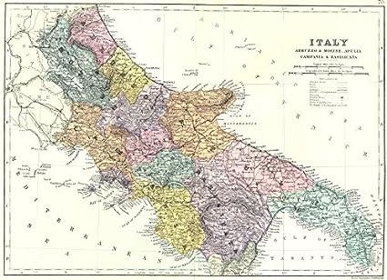Cartina Puglia E Molise.Antiqua Print Gallery Italia Sud Est Abruzzo E Molise Puglia Campania E Basilicata Bacon 1895 Mappa Amazon It Casa E Cucina