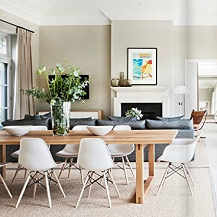 Beau Amazon.com   2xhome Set Of 2 White Mid Century Modern Contemporary Vintage  White Molded Shell Designer Side Plastic Eiffel Chairs Wood Legs For Dining  Room ...