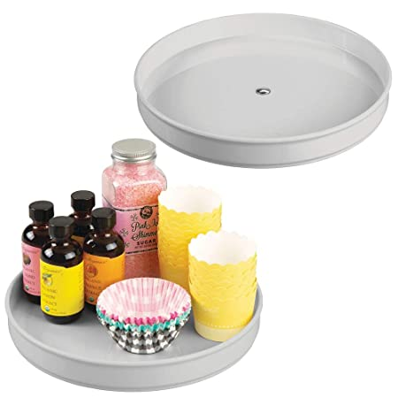 """M Design Plastic Lazy Susan Turntable Food Storage Container For Cabinets, Pantry, Refrigerator, Countertops   Spinning Organizer For Spices, Condiments, Baking Supplies   9\"""" Round, 2 Pack   Gray by M Design"""