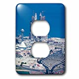 3dRose Danita Delimont - Cities - UAE, Abu Dhabi. Marina Village and Arabian Gulf, aerial view - Light Switch Covers - 2 plug outlet cover (lsp_277130_6)