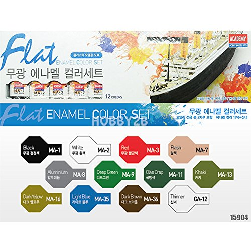 Academy Enamel - Academy Flat Enamel Painting 12 Color Set for Plastic Model Kits #15904