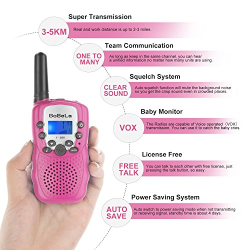 Bobela Cute Walkie-Talkies for Women Hiking - T-388 Portable Walky-Talky with Flashlight for Adults Girls Wakie-Talkies with FCC PTT Mic 22 Channels for Kids as Cool Personalized Gifts (Pink 2 Pack) by Bobela (Image #2)