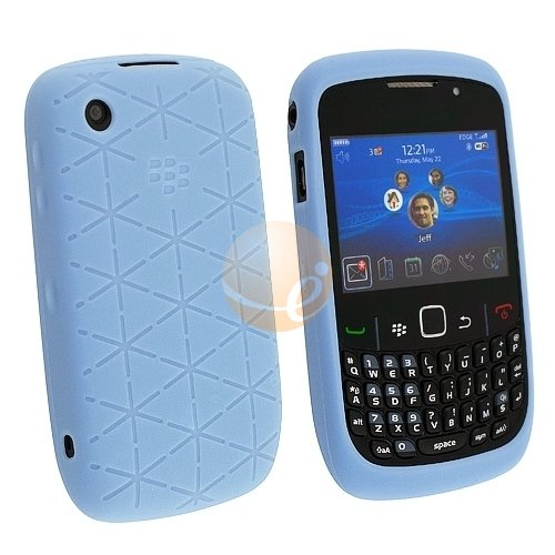 (Blackberry Curve 8520 Embossed Silicon Skin Case - Frost Blue OEM Original HDW-24540-001)