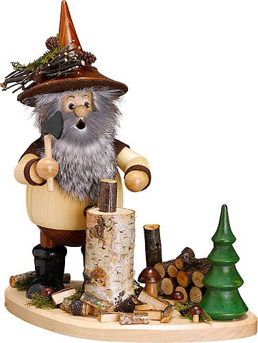 German Incense Smoker Forest Gnome on Board - 26cm / 10inch - Drechselwerkstatt Uhlig