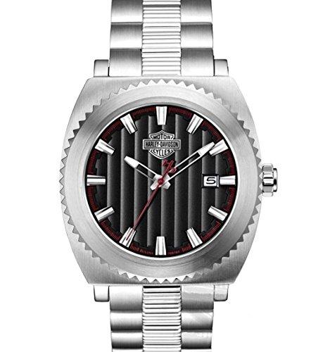Harley-Davidson Men's Bulova Silver Bar & Shield Wrist Watch 76B164