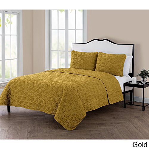 VCNY Home KLI-3QT-FUQU-IN-GL Quilt Gold Eye-Popping Geometric Pattern (3 Piece Set with 2 Shams), Full/Queen