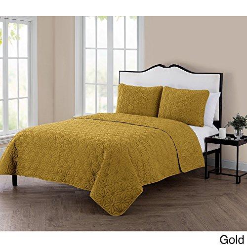 VCNY Home KLI-3QT-FUQU-IN-GL Quilt Gold Eye-Popping Geometri
