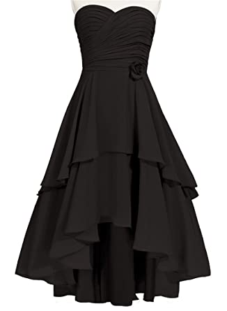 ccc6d31efb JudyBridal Women Sweetheart High-Low Bridesmaid Dresses with Handmade  Flower US2 Black