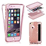 Glitter iPhone SE Case, MingKun 360 Full Body Double TPU Cover for iPhone SE 5S 5 Case Transparent Front and Back Bling Silicone Thin Soft Scratch Non-slip Protective Case Cover - Clear ROSE Gold