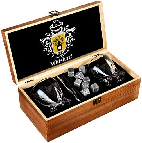 Whiskey Glass Set of 2 – Bourbon Whiskey Stones Gift Set – Twist Scotch Rocks Tongs, Coasters, Chilling Stones Bar Glasses – Drinking Glasses for Men Woman – Whiskey Glassware in Wooden Gift Box