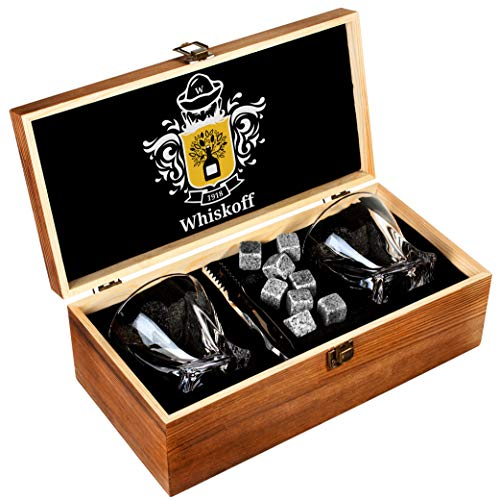 - Whiskey Glass Set of 2 - Bourbon Whiskey Stones Gift Set - Twist Scotch Rocks Tongs, Coasters, Chilling Stones & Bar Glasses - Drinking Glasses for Men & Woman - Whiskey Glassware in Wooden Gift Box