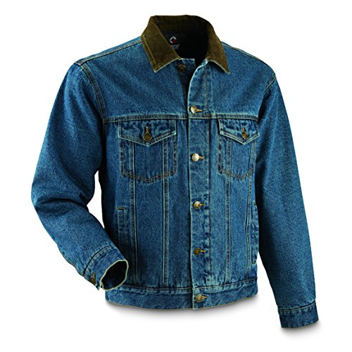 Guide Gear Men's Quilt Lined Denim Jacket, Stonewash, XL (Stonewash Jean Jacket Men)