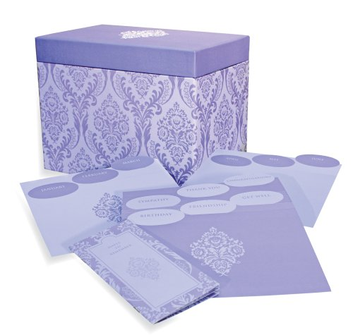 Designer Greetings 711-00005-000 - Deluxe Card Organizer Kit In Decorative Designer Damask Patterned Box Containing Dividers for Month And Type Of Greeting Card And Booklet For Tracking Days To Remember -