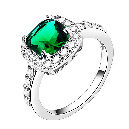 Impression Collection Square Rings Wedding Party Statement CZ Cocktails Gold Plated Classic Fashion Size 4-12 (Green, -