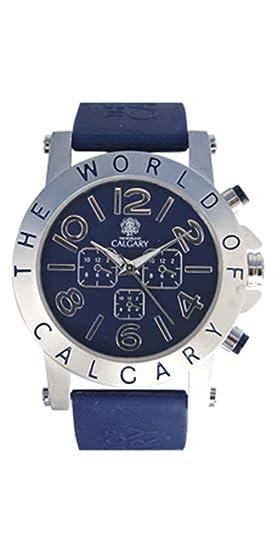 Relojes Calgary Riomaggiore Blue, Reloj deportivo para mujer, correa azul de silicona, esfera azul y plateada: Amazon.es: Relojes