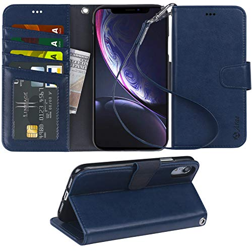 Arae Wallet Case Designed for iPhone xr 2018 PU Leather flip case Cover [Stand Feature] with Wrist Strap and [4-Slots] ID&Credit Cards Pocket for iPhone Xr 6.1 - Blue