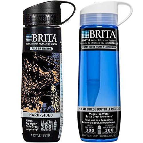 Brita Filtered Water Bottle, Hard Sided, 1 Black Camo and 1 Blue, BPA Free, 23.7 Ounces by Brita