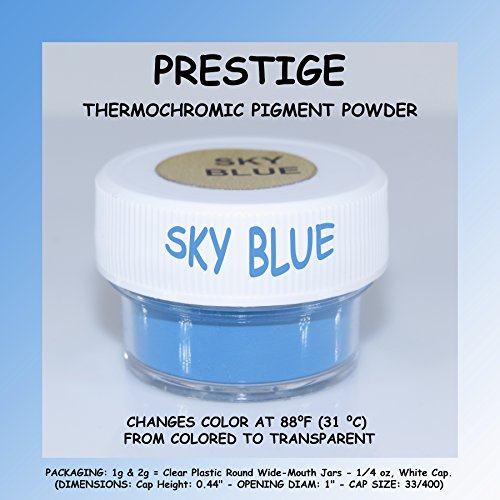 PRESTIGE THERMOCHROMIC PIGMENT THAT CHANGES COLOR AT 88⁰F (31 ⁰C) FROM COLORED TO TRANSPARENT (Colored Below The Temperature, Transparent Above) Perfect For Color Changing Slime! (2g, SKY BLUE)