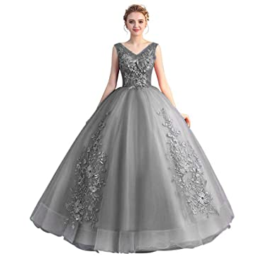 729757b36a5 DIOU Double V-Neck Quinceanera Dress for Women Sweet 16 Applique Prom Dress  Ball Gown