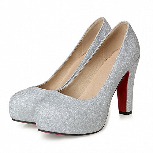 Mee Shoes Damen elegant high heels Pailletten Pumps Silber