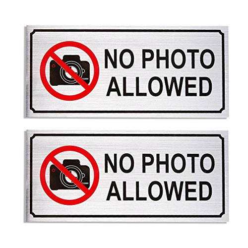 Top 2-Piece Set of No Photo Allowed Signs - Aluminum Compliance Signs for Business, Restricted Areas, Private Property Signs, Silver - 7.8 x 3.6 Inches