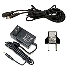 HQRP 12V AC Adapter + DC Extension Power Cord 2.1mm / 5.5mm Male Female for CCTV Cameras / Recorder / Car Monitor + HQRP Euro Plug Adapter