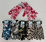 WHOLESALE LOT, 12 PAIR LADIES ADULT FLEECE INSULATED THERMO WEAR CAMO / ANIMAL PRINT GLOVES
