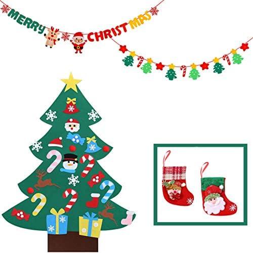 クリスマス フェルトクリスマスツリー(26個パーツ )壁掛け サンタ帽トナカイMERRY CHRISTMAS文字 クリスマス靴下*2点 お祝い 飾りセット 取り外し可能 装飾 ギフト袋 子供 お化け屋敷 学園祭 文化祭 仮装大会 デコレーション 女の子 男の子 90*67cm