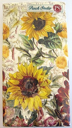 psG16 Punch Studio Boutique 16 Ct Paper Guest Towels / Dinner Napkins, Sunflowers
