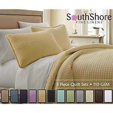 Southshore Fine Linens 3 Piece Oversized Quilt Sets (Queen, Gold)
