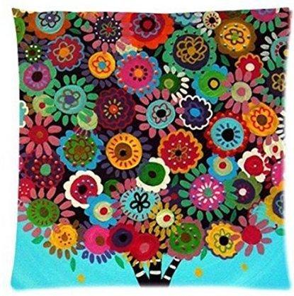 leiacikl22メキシコスタイルツリーフラワー花柄枕カバー18 x 18インチ B077LXVDHW