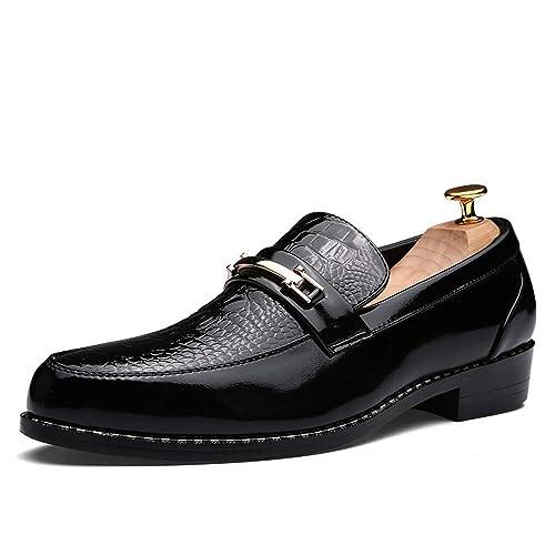 6d24d5e8 Hombres de Negocios Oxford Casual Retro Personalidad Traje de Charol a  Prueba de Agua Zapatos Formales: Amazon.es: Zapatos y complementos