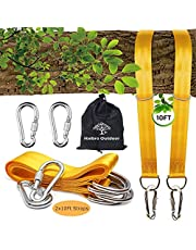 Tree Swing Hanging Kits and Hammock Straps -Two 10FT Extra Long Swing Hanger Straps Ropes Adjustable Holds 2200lbs with 2 Carbine Hooks -for Safety Hammocks Hanging and Tree Swing Accessories Set