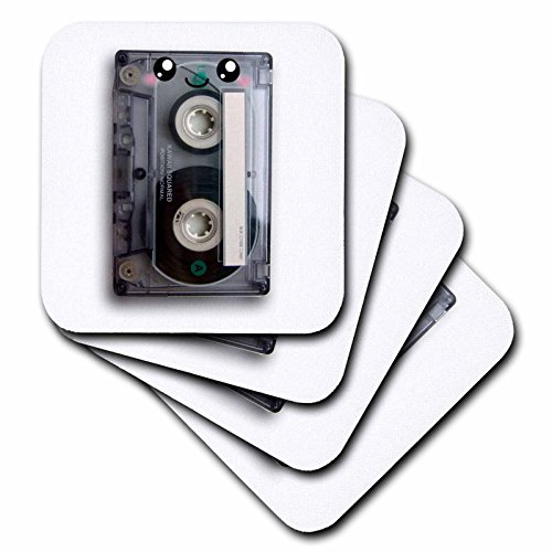 3dRose cst_113115_1 Cute Happy Cassette Tape Retro Music 80S Eighties 90S Kawaii Smiley Face Smiling Sweet Cartoon Soft Coaster (Set of (80s Characters)