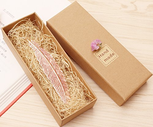 eMosQ Classic Metal Brass Creative Handmade Feathers Bookmark Beautifully Gift Boxed (Rose (Handmade Bookmark)
