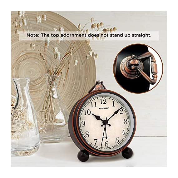 """Peakeep 4"""" Battery Operated Antique Retro Analog Alarm Clock, Small Silent Bedside Desk Gift Clock - This vintage retro alarm clock is 4 inches in diameter, metal frame antique design will add funky retro decorative feel to your bedroom, bedside, bookcase, TV table, fireplace mantle etc. Quartz analog clock offers a very silent non-ticking movement and accurate time. This bedside alarm clock has a beep noise that starts out at one pace and progressively get faster and louder in 4 stages. A big alarm switch ensures you turn the alarm on/off easily. - clocks, bedroom-decor, bedroom - 51n ReBsYhL. SS570  -"""