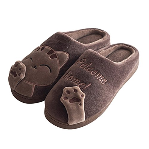 Jaderich Cats Pattern Fleece Winter Warm Indoor Slippers Coffee