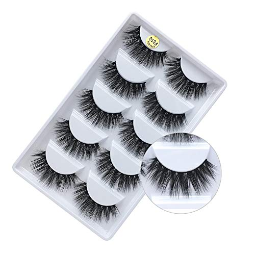 FUN YOUNG 3D Real 15mm Faux Mink Lashes, Handmade Reusable false eyelashes, Luxurious Wispy Natural Cross Thick Dramatic Lashes(5PAIR)