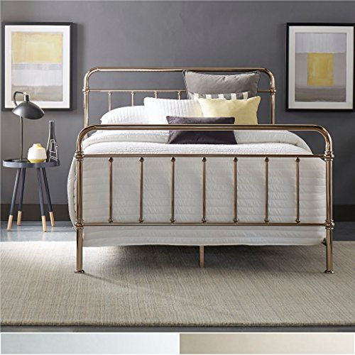 iNSPIRE Q Giselle Graceful Lines Victorian Metallic King-sized Metal Bed by Bold Silver Chrome Finish by iNSPIRE Q
